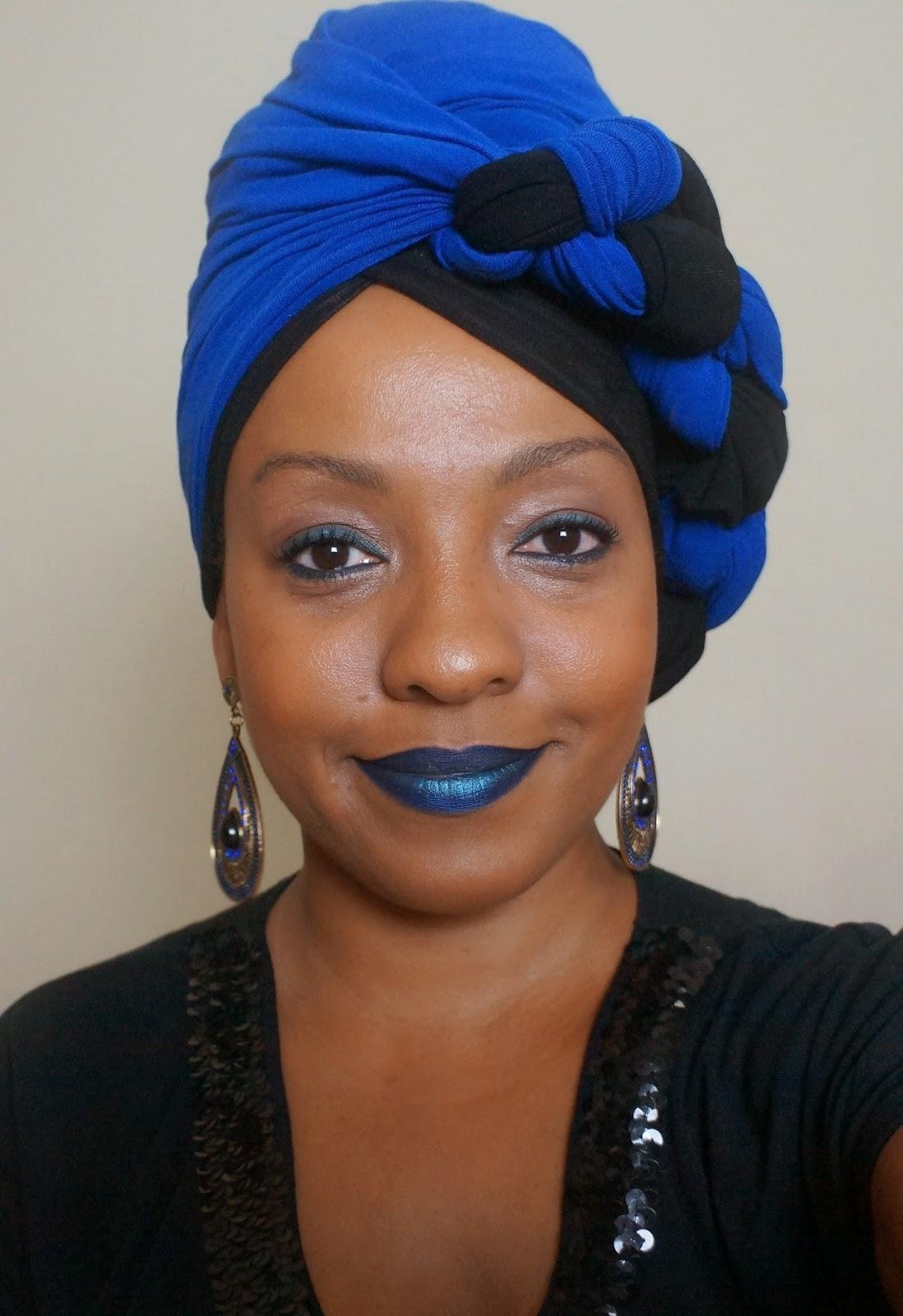 Turbante Preto e azul