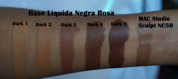 Comparação dos tons de Base Negra Rosa com outras marcas – Parte 3